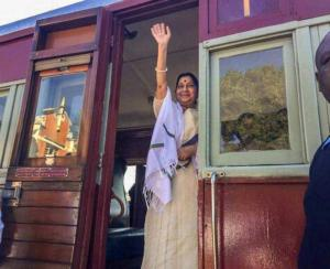 Sushma Swaraj Waves During Her Train Journey From Pentrich Station To Pietermaritzburg
