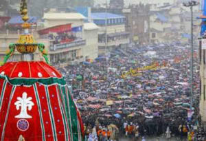 Devotees During The Procession Of 141st Rath Yatra In Puri