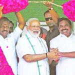 Prime Minister Narendra Modi With Chief Minister Edappadi K. Palaniswami And Deputy Chief Minister O. Panneerselvam During A Nda Poll Rally In Chennai